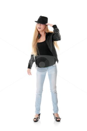 Young female dancer in black hat stock photo, Young female dancer in black hat, isolated on white background by Piotr_Marcinski