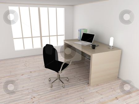 Workplace stock photo, An office workplace. 3D rendered Illustration.  by Michael Osterrieder