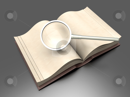 Book Search stock photo, Searching in an antique Book. 3D rendered Illustration. by Michael Osterrieder