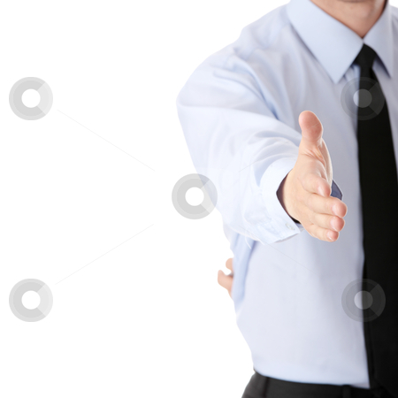Business man ready to set a deal over white background stock photo, Young business man ready to set a deal over white background by Piotr_Marcinski