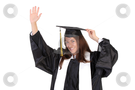 Happy graduation a young woman stock photo, happy graduation a young woman on white background by vladacanon1