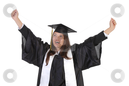 Happy graduation a young woman stock photo, happy graduation a young woman on white background by vladacanon1