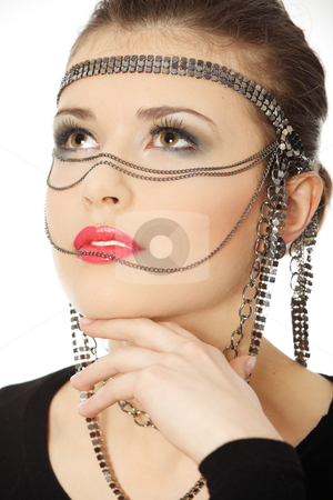Beutiful brunette with jewelery on her face stock photo, One teen beutiful brunette with jewelery on her face, isolated on white  by Piotr_Marcinski