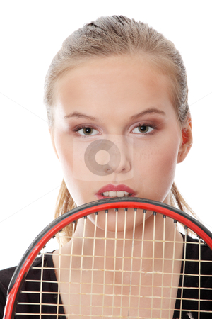Teen tennis player stock photo, Teen tennis player, isolated on white by Piotr_Marcinski