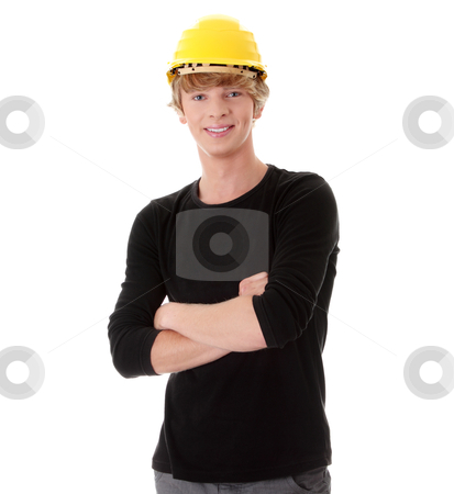 Young casual man in yellow helmet stock photo, Young casual man in yellow helmet, isolated on white by Piotr_Marcinski