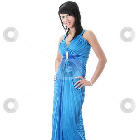 Woman wearing long elegant dress stock photo, Attractive young woman wearing long elegant dress.  by Piotr_Marcinski
