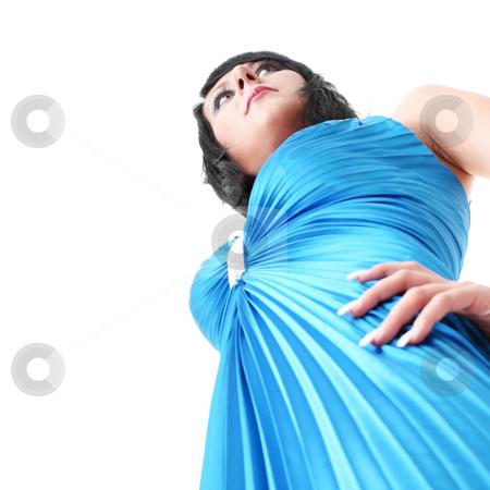 Woman wearing long elegant dress stock photo, Attractive young woman wearing long elegant dress.  by Piotr_Marcinski