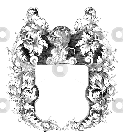 Heraldic Crest stock photo, Heraldic crest on engraving from the 1700s. by Georgios Kollidas