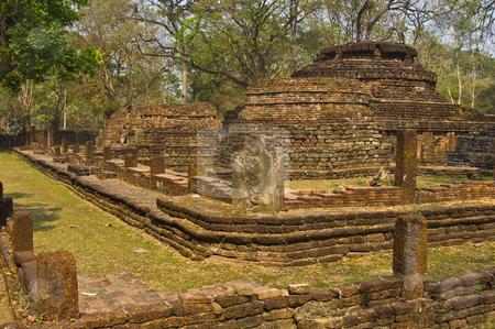 Wat Phra Kaeo stock photo, part of the ruin of the temple Wat Phra Kaeo in Kamphaeng Phet by Juliane Jacobs