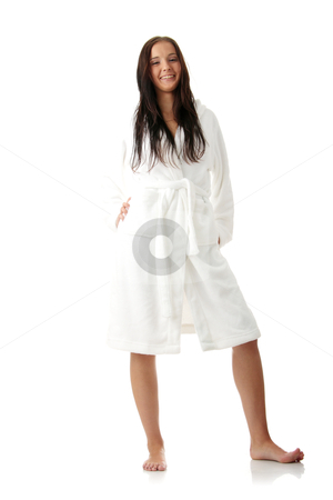Tired woman stock photo, Young woman in white bathtub isoalted by Piotr_Marcinski