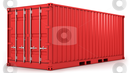 Red freight container isolated stock photo, Red freight container isolated on white background by Zelfit