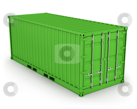 Green freight container isolated  stock photo, Green freight container isolated on white background by Zelfit