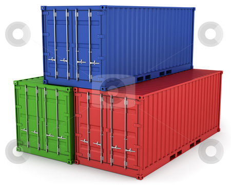 Three freight containers stock photo, Three freight containers isolated on white background by Zelfit