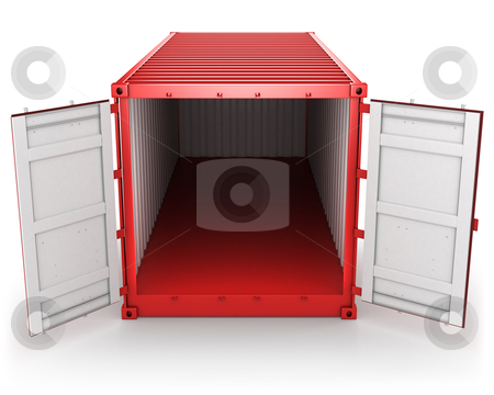 Opened red freight container isolated, front view stock photo, Opened red freight container isolated on white background, front view by Zelfit
