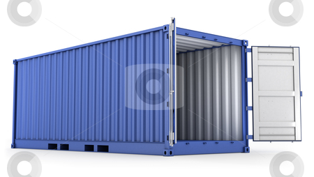 Opened blue freight container stock photo, Opened blue freight container isolated on white background by Zelfit