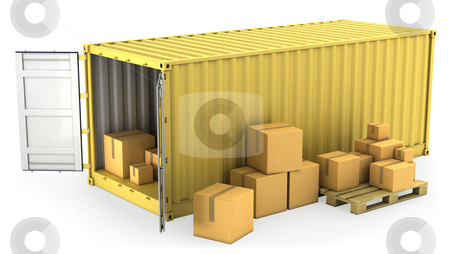 Yellow opened container with a lot of carton boxes stock photo, Yellow opened container with a lot of carton boxes, isolated on white background by Zelfit