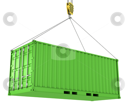 Green freight container hoisted stock photo, Green freight container hoisted, isolated on white background by Zelfit
