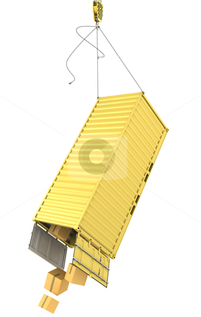 Yellow container falling after accidentally detaching hooks stock photo, Yellow container falling after accidentally detaching hooks isolated on white background by Zelfit