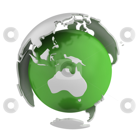 Abstract green globe, Australia part stock photo, Abstract green globe, Australia part isolated on white background by Zelfit
