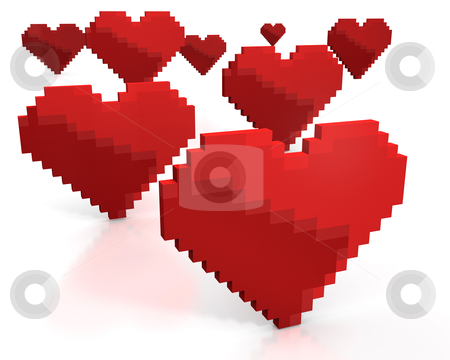 Few red hearts made of cubic pixels stock photo, Few red hearts made of cubic pixels isolated on white background by Zelfit