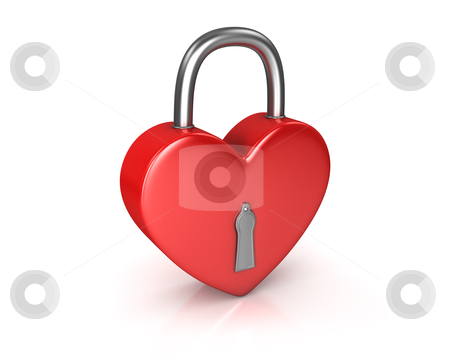 Red lock formed as heart stock photo, Red lock formed as heart isolated on white background by Zelfit