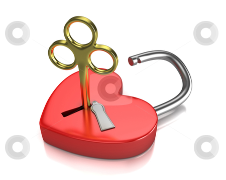 Opened red lock formed as heart with a golden key in a keyhole stock photo, Opened red lock formed as heart with a golden key in a keyhole isolated on white background by Zelfit