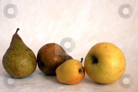 Pears and apples stock photo, Pears and apples isolatedon painted background by Ingvar Bjork