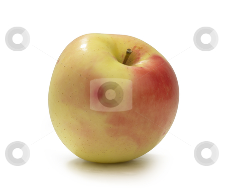 Apple yellow stock photo, One yellow apple which is on white background by princessa111