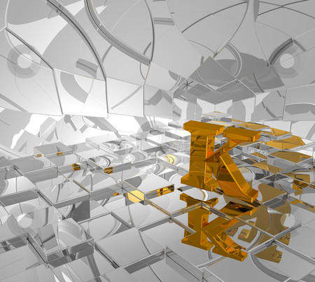 Golden letter k stock photo, cubes background and golden letter k - 3d illustration by J?