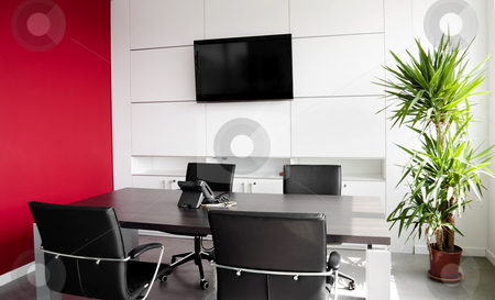 Interior office building stock photo, Interior office building with furniture and a red wall by Alberto Rigamonti
