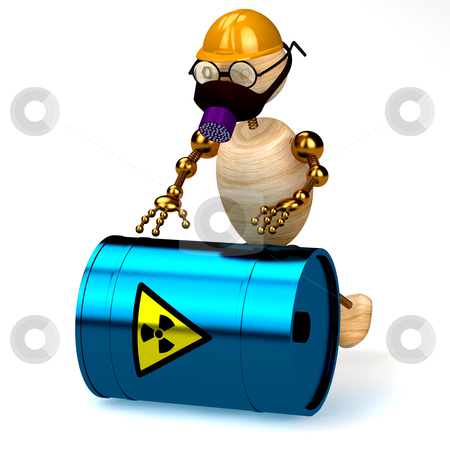 3d wood man with a radioactive waste isolated stock photo, 3d wood man with a radioactive waste isolated by vetdoctor