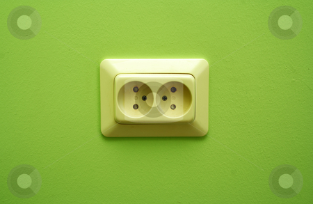 White electric socket on the wall stock photo, White electric socket on the wall close up by vetdoctor