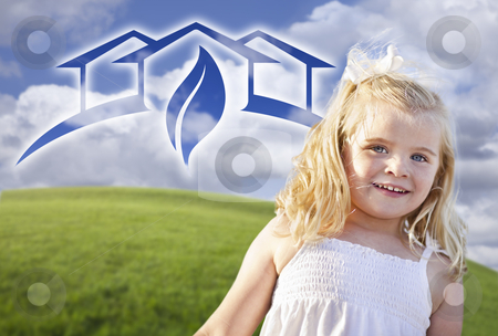 Blue Eyed Girl Playing Outside with Ghosted Green House Graphic stock photo, Adorable Blue Eyed Girl Playing Outside with Ghosted Green House Graphic in The Blue Sky. by Andy Dean