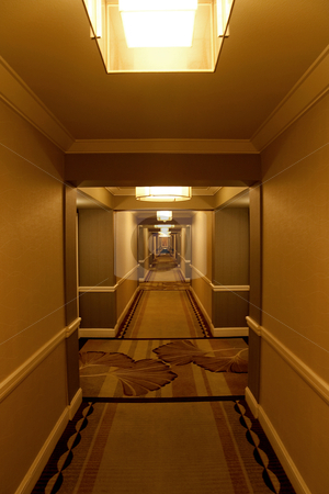 Hotel Corridor stock photo, A long modern hotel hallway with rooms on either side by Kevin Tietz