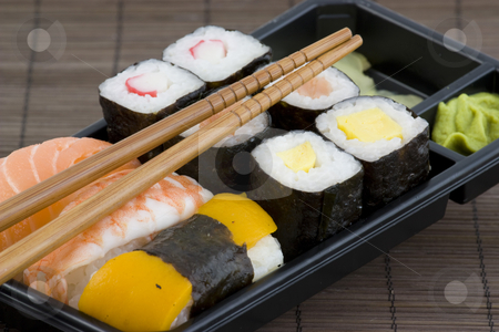 Japanese sushi stock photo, Background photo of a japanese sushi meal by Sabino Parente