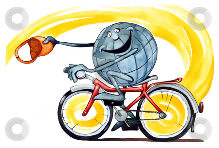 Earth on bicycle  stock photo, illustration of Earth riding on bicycle by Igor Zakowski