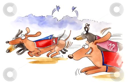 Dachshund dogs race stock photo, humorous illustration of dachshund dogs race by Igor Zakowski