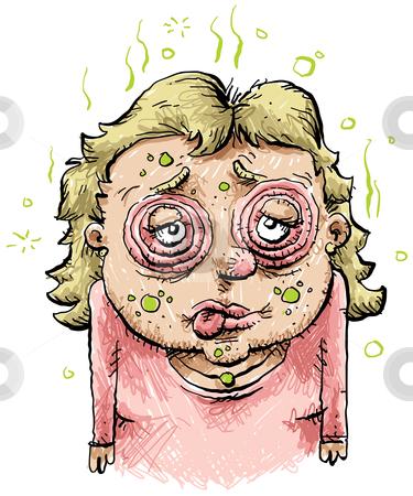 Sick Cartoon Woman stock photo, A sick and swollen cartoon woman. by Brett Lamb