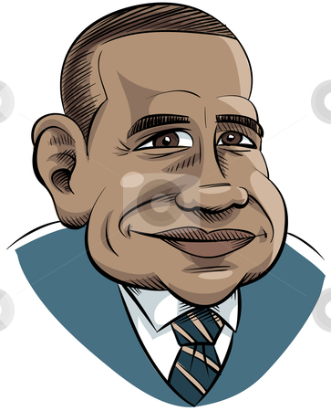 Cartoon Obama stock photo, Editorial cartoon of President Obama. by Brett Lamb