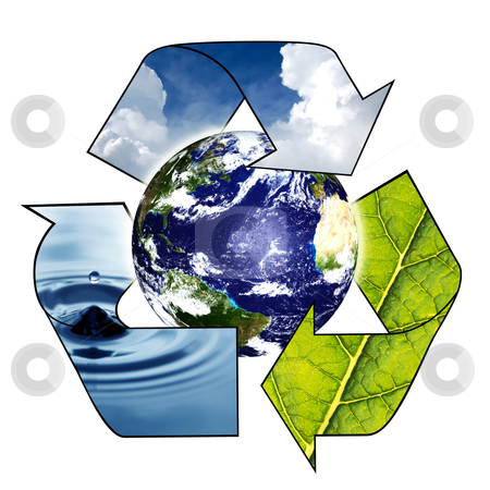 Planet Earth with Recycle Symbol stock photo, Planet Earth with Recycle Symbol on a white background by sutike