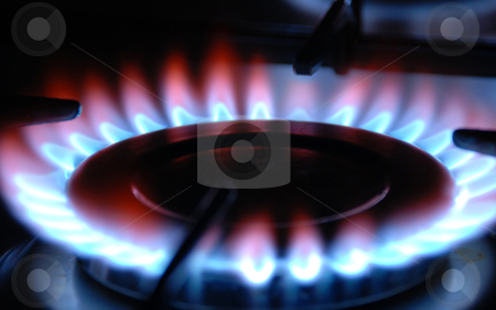 Gas Flame stock photo, Gas Flame of a Gas Range by sutike