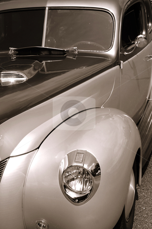 Classic car stock photo, Close up shot of classic car in sepia color by Sreedhar Yedlapati