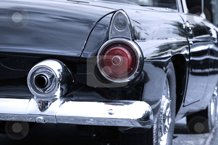 Rear view of classic car stock photo, Classic car rear view in black and white by Sreedhar Yedlapati