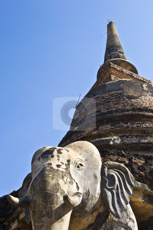 Wat Chang Lom stock photo, ruin of the temple Wat Chang Lom in Sukhothai by Juliane Jacobs