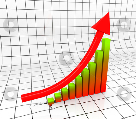 Business Chart stock photo, Chart with Arrow in 3D uprising by novelo