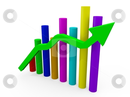 Business Chart stock photo, multicolored busness chart round columns with green arrow in foreground by novelo