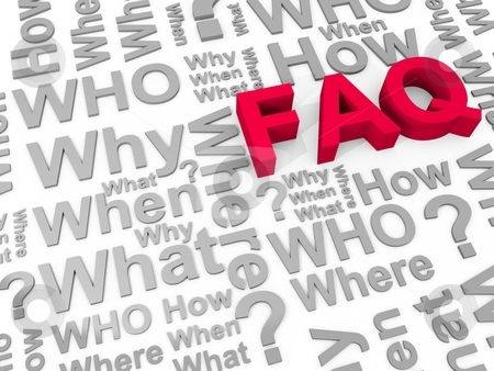 Faq stock photo, The word FAQ surrounded by the words why, what, who, how, where and when by novelo