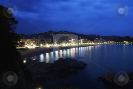 Lloret de Mar  stock photo, View of Lloret de Mar (Spain) at night by vladacanon1