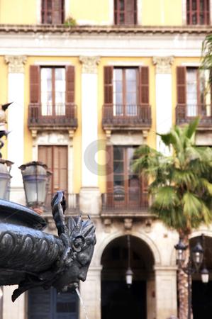 Fountain Royal Palace in Barcelona stock photo, details of fountain Royal Palace in Barcelona, Spain (placa Reial) by vladacanon1