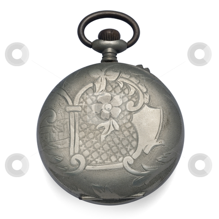 Old pocket watch stock photo, engraving back of an old pocket watch by paulrommer